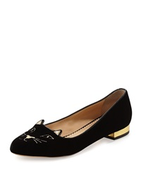 Charlotte Olympia Kitty Velvet Cat Embroidered Flat Black Gold