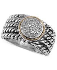 Effy Collection Balissima By Effy Diamond Texture Ring 1 6 Ct. T.W. In Sterling Silver And 18K Gold