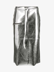 Golden Goose Metallic Pencil Skirt Silver Golden