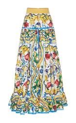 Dolce And Gabbana Printed Pleated Maxi Skirt Multi