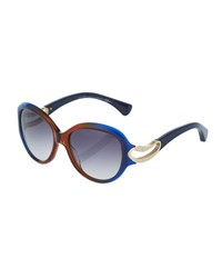 Alexander Mcqueen Round Ombre Acetate Sunglasses Blue Orange