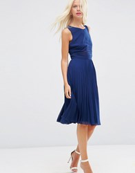 Asos Sheer And Solid Pleated Midi Dress Navy