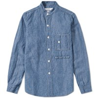 Fdmtl Collarless Shirt Blue