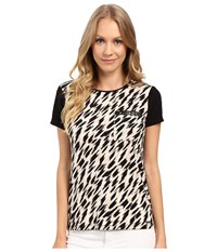 Calvin Klein Short Sleeve Top W Faux Leather And Studs Black Latte Combo Women's Short Sleeve Knit Animal Print