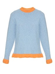 J.W.Anderson Ruffled Trimmed Boucle Sweater Light Blue