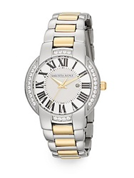 Saks Fifth Avenue Stainless Steel And Goldtone Crystal Bezel Watch Silver Gold