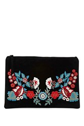 Forever 21 Floral Embroidered Clutch Black Multi