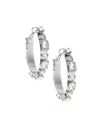 Rj Graziano R.J. Graziano Rhinestone Station Hoop Earrings Silvertone