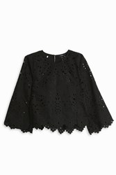 Theory Embroidered Linen Top Black