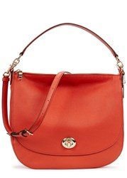 Coach Turnlock Orange Leather Hobo Bag