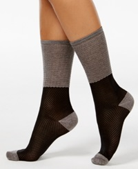 Vince Camuto Women's Colorblock Trouser Socks Dark Gray