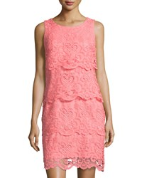 Chetta B Tiered Lace Sleeveless Dress Coral