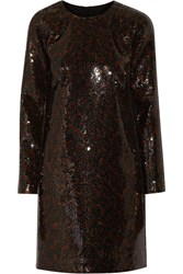 Marc Jacobs Sequined Satin Mini Dress Brown