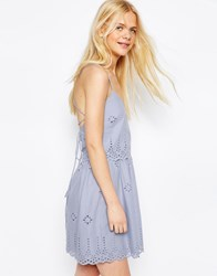 Asos Strappy Broderie Mini Prom Sundress Blue