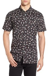 Rip Curl Men's 'Volume' Print Short Sleeve Woven Shirt Black