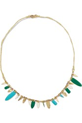 Maje Gold Tone Bead And Enamel Necklace Metallic