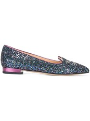 Charlotte Olympia 'Mid Century Kitty' Slippers Blue