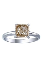 Sterling Silver Princess Cut Champagne Diamond Solitaire Ring 0.35 Ctw Beige