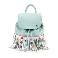 Ozerianko Bags Dots Sky Blue Backpack With Removable Fringe