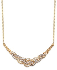 Wrapped In Love Diamond Woven Frontal Necklace In 10K Gold 1 Ct. T.W. Yellow Gold