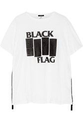 R 13 R13 Black Flag Printed Cotton And Cashmere Blend Jersey T Shirt Cream