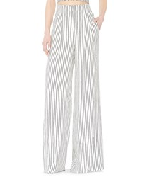 Alice Olivia Eloise High Waist Striped Wide Leg Pants Black White Women's