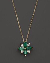 Bloomingdale's Emerald And Diamond Flower Pendant Necklace In 14K Yellow Gold 18 Gold Green
