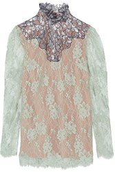 Lanvin Metallic Paneled Lace Blouse Sky Blue