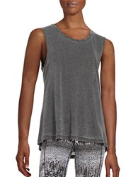 Betsey Johnson Twistback Hi Lo Tank Top Charcoal