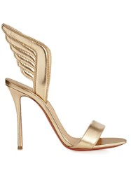 Christian Louboutin Samotresse 100Mm Metallic Leather Sandals Gold