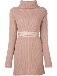 Valentino Belted Knitted Dress Pink And Purple