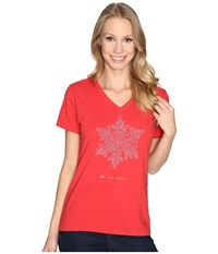 Life Is Good Be You Tiful Snowflake Crusher Vee Simply Red Women's T Shirt