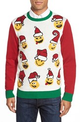 Men's Ugly Christmas Sweater 'Emoji Faces' Holiday Crewneck Sweater