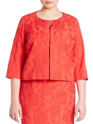 Marina Rinaldi Plus Size Fringed Organza Jacket Red
