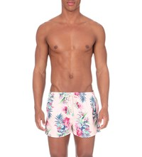 Oiler And Boiler Tuckernuck Shortie Floral Print Swim Shorts Paradise Pink