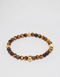 Mister Annum Tigers Eye And Gold Beaded Bracelet Brown