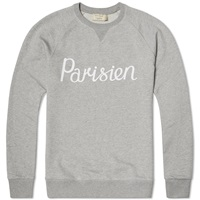 Maison Kitsune Parisien Crew Sweat Grey Melange And White