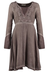 Cream Athena Summer Dress Stone Brown Taupe