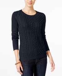 Tommy Hilfiger Carly Cable Knit Sweater Only At Macy's Masters Navy