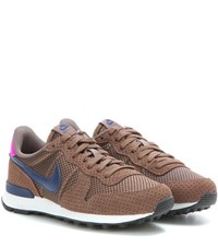 Nike Internationalist Premium Suede Trimmed Sneakers Brown