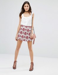 Motel Annie A Line Skirt In Santorini Berry Berry Red