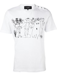 Hydrogen Drawing Print T Shirt White