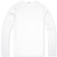 Sunspel Long Sleeve Crew Neck Tee White