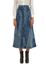 Saint Laurent A Line Patchwork Denim Skirt Blue
