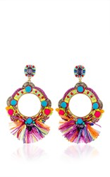 Ranjana Khan Fringe Embellished Circle Earrings Multi