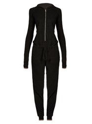Pepper And Mayne Cashmere Hooded Jumpsuit Black