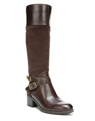 Franco Sarto Lapis Leather Boots Wide Calf Brown