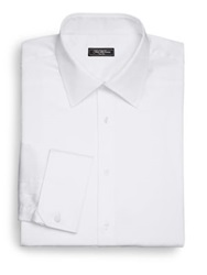 Saks Fifth Avenue Classic Fit French Cuff Cotton Shirt White