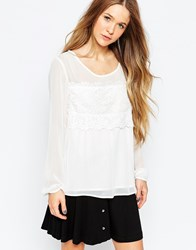 B.Young Top With Lace Detail Off White