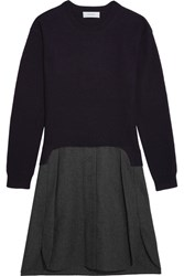 Carven Two Tone Wool Dress Navy
